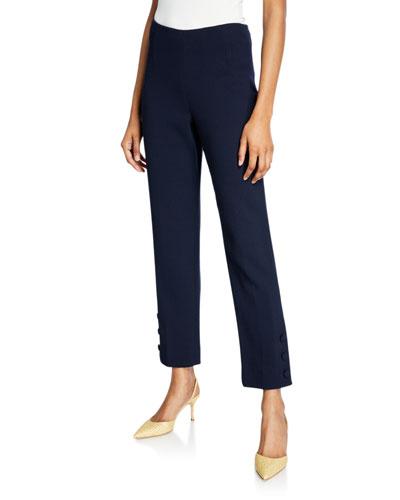 Button-Cuff Crop Pants