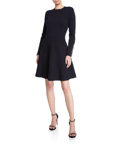 Textured Knit Long-Sleeve Full-Skirt Dress