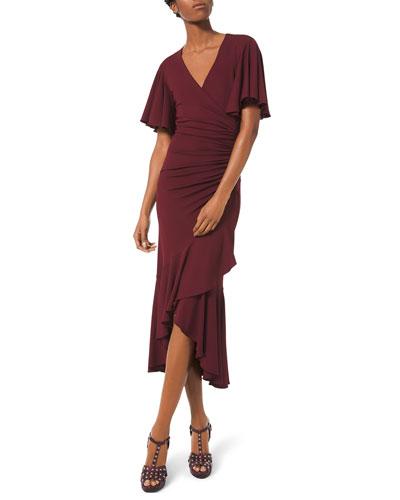 Flutter-Sleeve Wrapped Jersey Dress