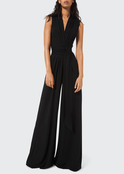Wrapped Jersey Palazzo Jumpsuit