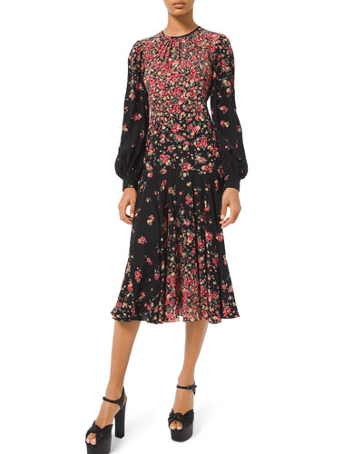Long-Sleeve Degrade Floral-Print Dress