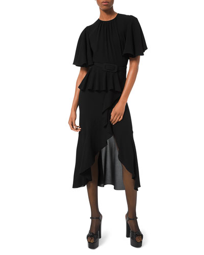 Belted Cascading Flutter-Sleeve Dress
