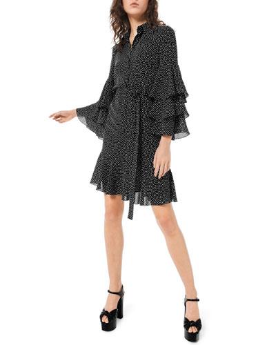 Polka-Dot Tiered Bell-Sleeve Shirtdress