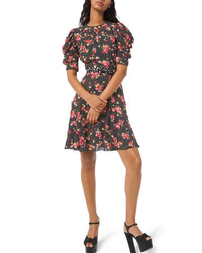 Draped Puff-Sleeve A-Line Dress