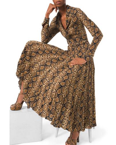 Python-Print Crushed Georgette Dress