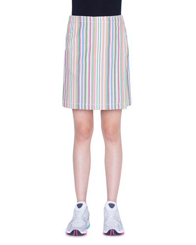 Striped Denim A-Line Skirt