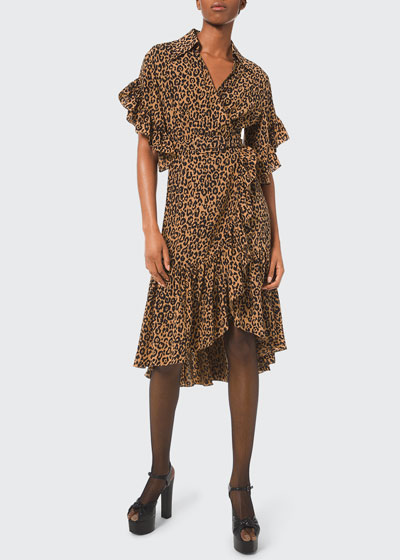 Belted Leopard-Print Ruffle-Wrap Dress
