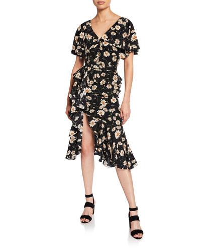 Cascading Cape-Sleeve Dress