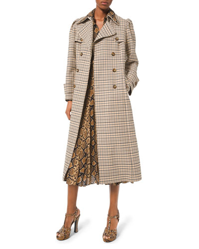 24ac899f5484 Puff-Sleeve Double-Breasted Trench Coat