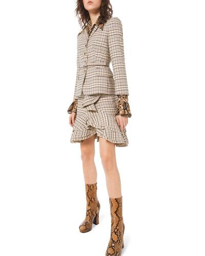 Fitted Plaid Stretch-Wool Blazer