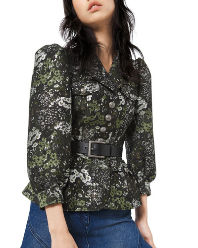 Floral Brocade Button-Front Admirals Jacket
