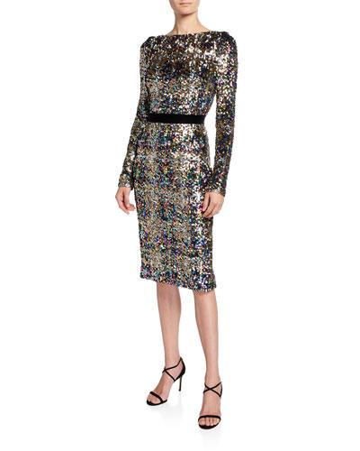 Patina Sequin Plaid Long-Sleeve Cocktail Dress
