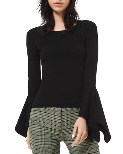 Draped-Cuff Scoop-Neck Sweater