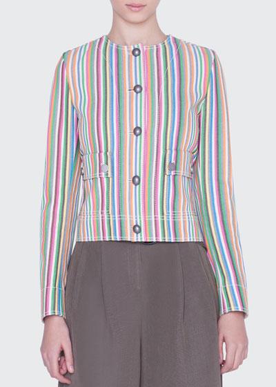 Striped Denim Button-Front Jacket