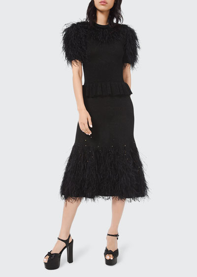 Feather-Trim Knit Cocktail Dress