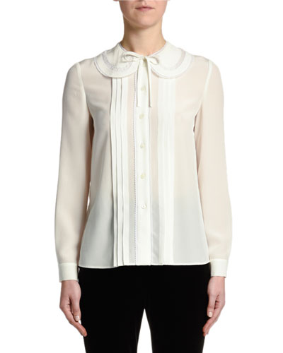 Pleated Plastron Crepe de Chine Blouse