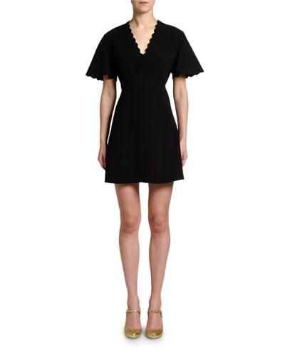 1ceb249d24586c Scalloped V Neckline Dress | bergdorfgoodman.com