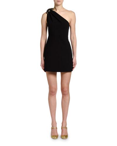One-Shoulder Dress w/ Leopard-Pattern Bow