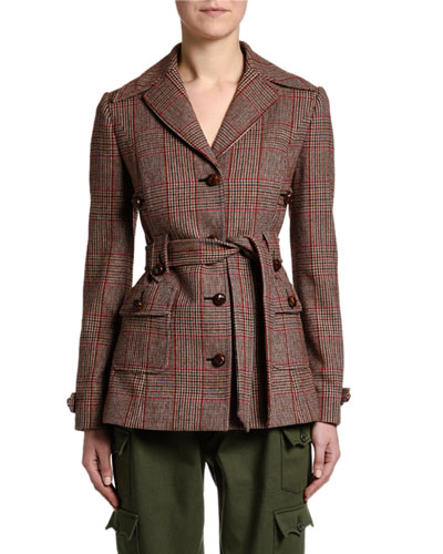 Prince de Galles Checked Belted Jacket