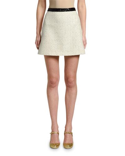 Sequined-Waist Tweed Mini Skirt