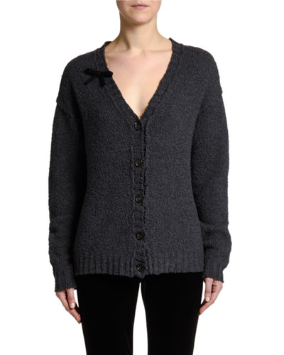 Distressed Bowed Button-Front Cardigan