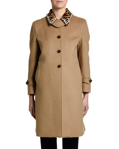 Leopard-Print Fur-Collar Camel Coat