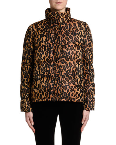 Leopard-Print Funnel-Neck Puffer Coat