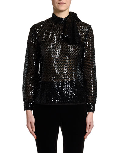 Long-Sleeve Sequined Bow-Neck Blouse