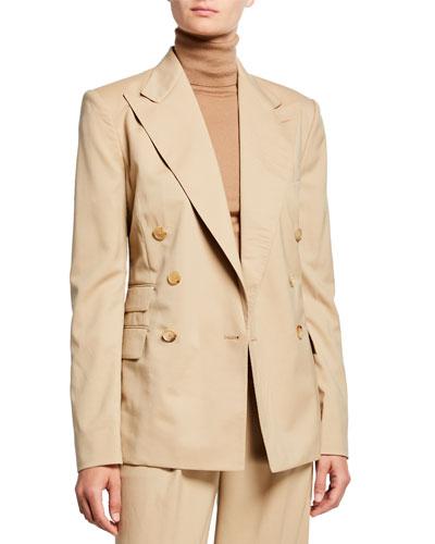 Elias Gabardine Blazer Jacket, Tan