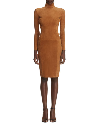 Rosalia Long-Sleeve Suede Bodycon Dress