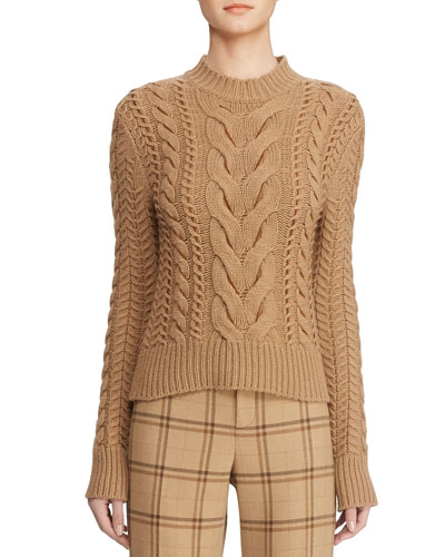 Cable-Knit Leather-Woven Mock-Neck Sweater