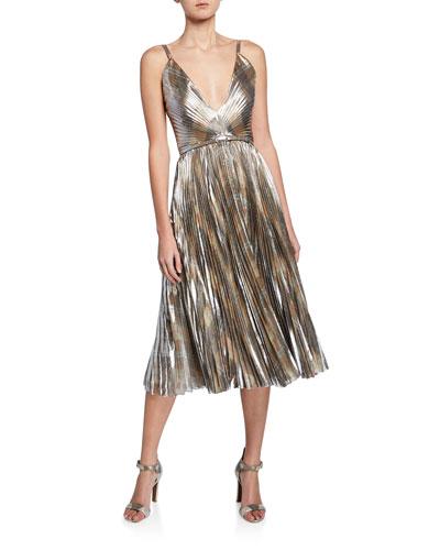 Valora Belted Lame Cocktail Dress