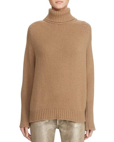 Oversized Wool-Cashmere Turtleneck Sweater