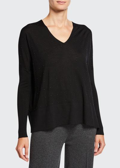 Studded Wool V-Neck Sweater
