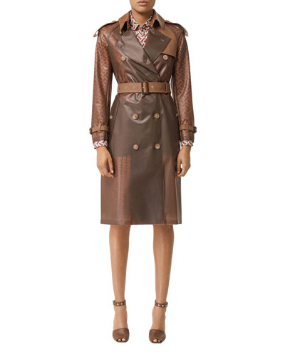 a1c5ca525 Colorblocked Faux-Leather Trench Coat Quick Look. Burberry