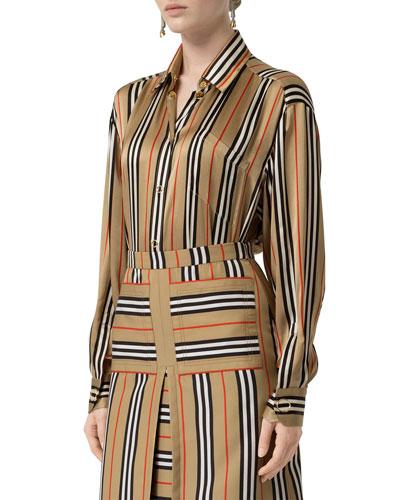 Icon-Striped Silk Button-Front Shirt