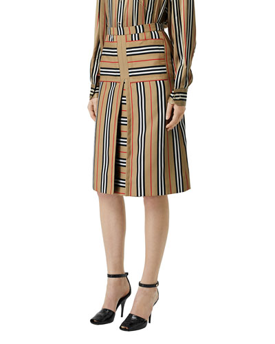 Icon-Striped Inverted-Pleated Skirt