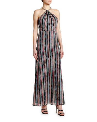 Optical-Striped Halter-Neck Maxi Dress