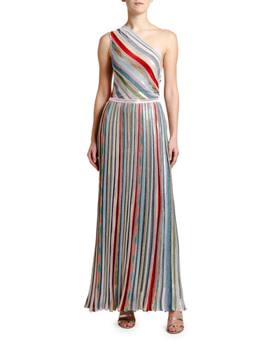 One-Shoulder Metallic Striped Maxi Dress