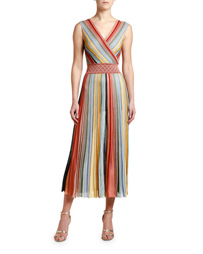 Striped V-Neck Sleeveless Maxi Dress