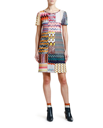 Patchwork Short-Sleeve Mini Dress