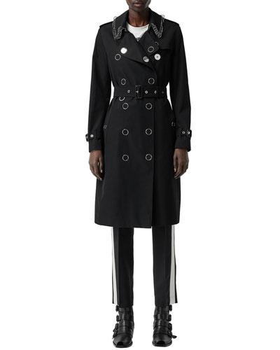 Kensington Punk-Ring Trim Cotton Trench Coat