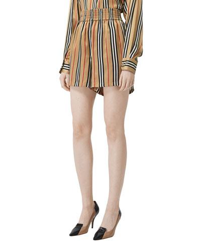 Icon-Striped Silk Shorts