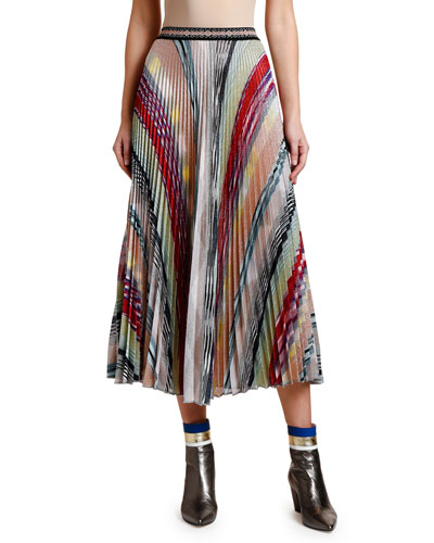 Lame Striped A-Line Pleated Midi Skirt