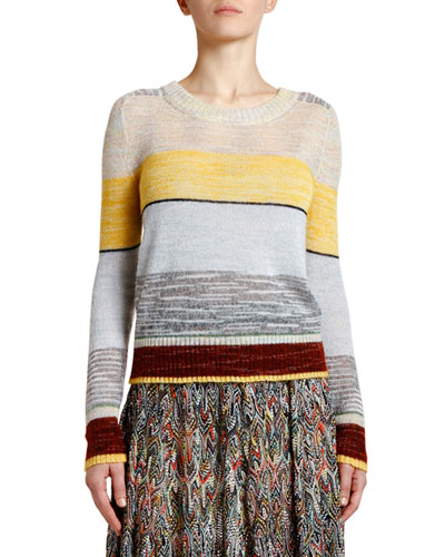 Elbow-Patch Wide-Striped Mohair Sweater