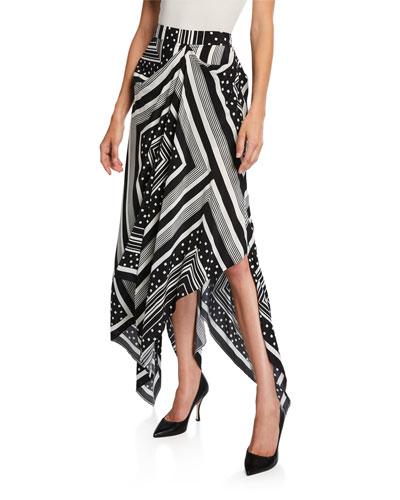 Draped Silk Crepe Handkerchief Skirt