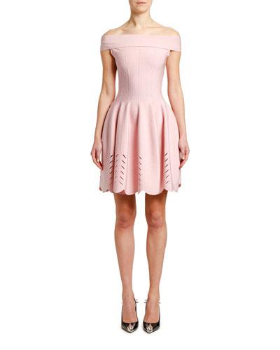 Off-the-Shoulder Knit Tulip Dress