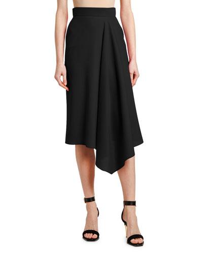 Side-Drape Midi Skirt