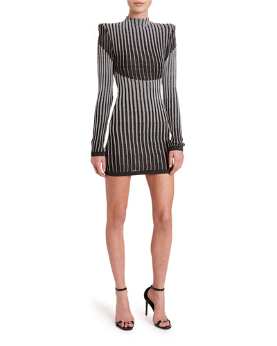 Striped High-Neck Bodycon Cocktail Dress