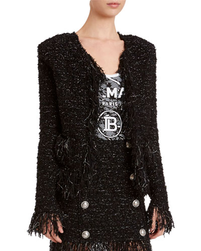 Tweed Fringe-Hem Blazer